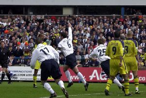 Sean Gregan celebrates after opening the scoring for Preston against West Bromwich Albion at Deepdale in May 2001