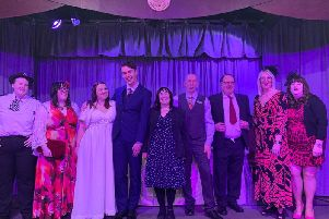 The cast of Till Death Do Us Part, a murder mystery presented by St James' Players in Lostock Hall.