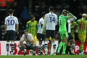 Declan Rudd holds his head after conceding the late penalty which denied Preston a point against West Bromwich Albion at Deepdale