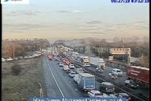 Two lanes are closed on the M6 from junction 27 (Standish, Parbold, A5209) towards junction 28 (Leyland, B5256) due to a broken down vehicle. Pic: Highways England