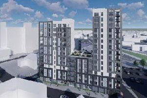 An artist's impression of the new 15-storey Bhailok Court in Preston could look