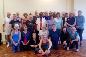Julie, (front centre), with members of her keep fit class
