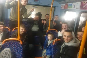 "Leyland mum Laura Swarbrick said the young men ""put a smile on everyone's faces"" after they began singing Christmas songs for her sons Lucas, 3, and Noah, 4, on the 111 bus on Wedneday (December 4)"
