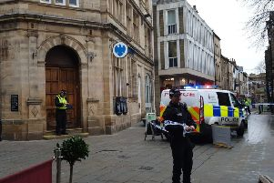 Police have taped off Barclays Bank in Lancaster