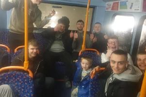 "Leyland mum Laura Swarbrick said the young men ""put a smile on everyone's faces"" after they began singing Christmas songs for her sons Lucas, 3, and Noah, 4, on the 111 bus on Wednesday (December 4)"
