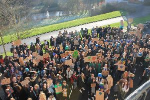 Students at Cardinal Newman College organised a mass rally to protest about climate change