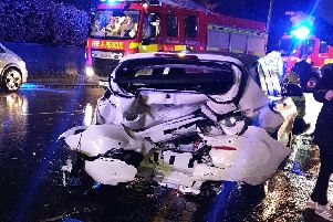 The BMW Series 1 was parked up with no occupants inside when it was hit from behind by an Audi A1 in Tag Lane, Ingol at 7.55pm on Thursday (December 5) Credit: Daniel McPhee.