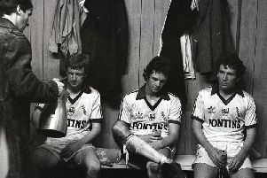 Graham Bell, Steve Eliiott and Don O'Riordan look despondent in the dressing room after Preston are relegated in May 1981 despite their win against Derby at the Baseball Ground