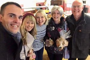 WeightWatchers Coach Claire Anderson (middle) with WW Gold member Victoria Open, Victorias husband James, Victorias mum Susan Kelly, and Claires dad, Graham Dalley