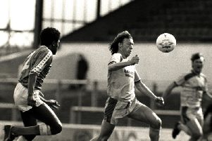 John Thomas makes a run in PNE's game at Cardiff in April 1987