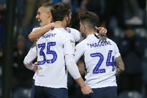 Preston North End's David Nugent celebrates scoring Fulham with Billy Bodin and Sean Maguire