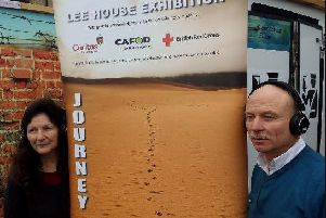 Joe Howson (pictured right)  and volunteer Shelagh Richardson promoting the Lee House exhibition