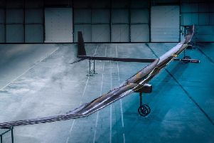 The Phasa-35  high altitude pilotless aircraft being readied for flight trials in 2020 by staff from Prismatic of Bristol and BAE Systems of Warton