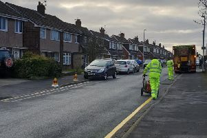 Yellow lines being painted on Broadwood Drive, Fulwood, last year