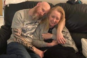 Stuart Manning with his wife Caroline, who has an aggressive form of MS.