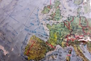 This modern but unusual globe is printed in Chinese