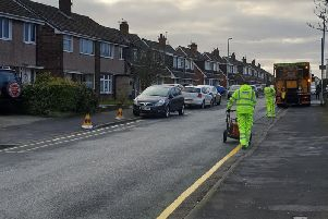 Yellow lines being put on Broadwood Drive previously