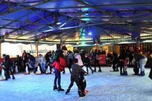 The ice rink runs for about four weeks around Christmas and new year