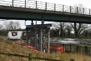 The bridge onn the M6 near Barnacre with a supporting structure below it.