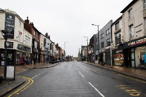 Friargate is deserted after roadworks closed it at one end.