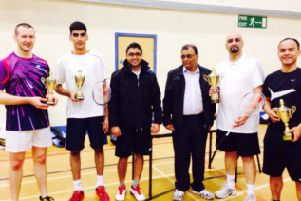 FINAL LINE-UP: From the left, runners-up Tom Reid and Azam Sharif, event organisers and winners Kabir Sharif and Nabeel Naban