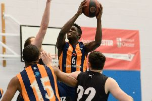 Moses Byekwaso in action against Chester (photo: Mansoor Ahmed)