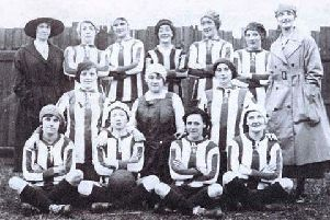 Dick, Kerr Ladies prior to their first game at Christmas, 1917 (photo courtesy of Gail Newsham)