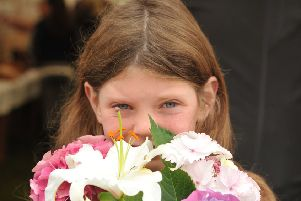 Photo Neil Cross'Chipping Agricultural Show'Grace Morris and her floral display