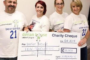 Danny Nicholls' family has raised 10,000 for Derian House. Let to right: Dad Eric Nicholls, sister Louise Brook, sister Leanne Clarke and mum Lorraine