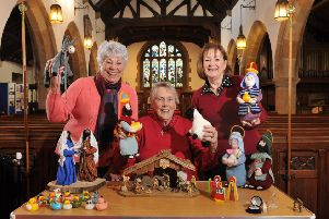 Photo Neil Cross. 'Preparations for the Goosnargh  St Mary's Church Nativity Crib Festival 'are being finalsied. Pictured l-r are organisers Fliss Pemberton, Delphine Burn, and Sylvia Smith.