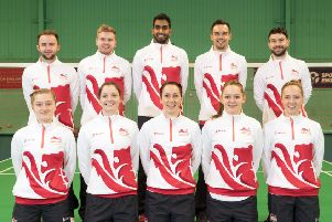 England's badminton squad with Chloe Birch in the centre of the front row