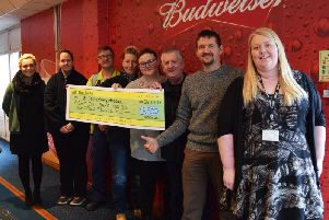 Staff at InBev brewery in Samlesbury have raised 8,500 for St Catherines Hospice