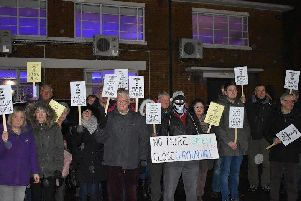 Protesters demonstrating against the stinking landfill site outside Clayton-le-Woods Parish Council
