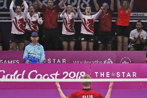 Chloe Birch, back left, celebrates Team England's bronze medal