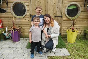 Leanne Witts with her sons Charlie and Harry