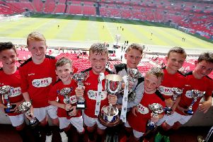 St Peter's Primary school collect the trophy in the Royal Box at Wembley'Photo by Kieran McManus/BPI/REX/Shutterstock
