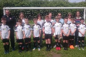 Members of  New Longton Rovers U10 Blacks who are doing Race for Life in Preston to support head coach Andy Nicholls