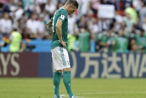 Toni Kroos looks dejected after Germany's shock World Cup exit