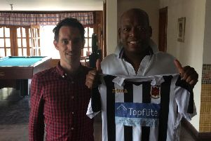 Carl Worswick with Colombian and Newcastle Utd legend Faustino Asprilla