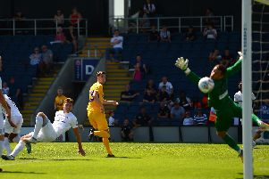 Paul Huntington heads PNE in front at AFC Fylde