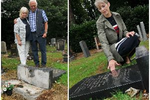 Vera and Robin Stopforth with their relative's gravestone (left) and Carol Wignall with the gravestone of her grandparents