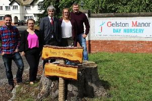 Neil Ward and Laura Ward (Buckshaw Bunnies), Chris Green (Santander), Annemarie Capper and Simon Capper (Buckshaw Bunnies) outside recently purchased Gelston Manor (Photo: Santander)