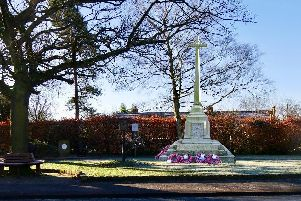 A graphic illustration of how the war memorial could look on the village green