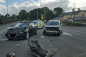 A two-car crash on the Kirkham bypass left it blocked at around 10.50am on Wednesday, September 12, 2018 (Picture: Blackpool Police/Twitter)