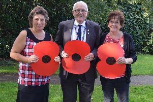 L-R: Sandra Sherliker, Mr Michael Turner from the Royal British Legion, and Jean Rutherford
