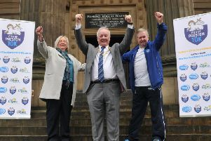 Former Preston Mayor and Mayoress of Preston, Coun Brian and Trisha Rollo, with Graham Jackson when he announced the Preston 10k is coming back