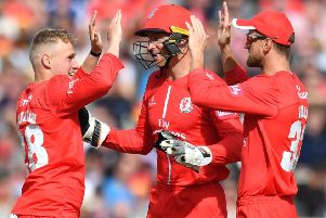 Lancashire Lightning's Matthew Parkinson celebrates taking the wicket of Worcestershire Rapids' Ross Whiteley during the Vitality T20 Blast semi-final
