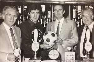 Brian Ballentine (second right) with PNE manager Brian Kidd at the Sumners in 1985.