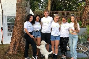 Antonia Isherwood, Lauryn Flore, George Thomas,  Catherine Ogden, Faye Webster and Claire Concannon and the dog Betsy at the fund-raiser for Derian House in memory of Catherine and Andrew's mum, Claire Elliott