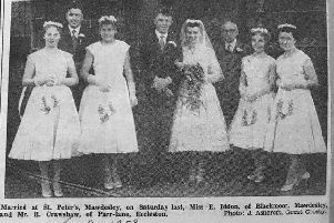 Rodney and Ellen Crawshaw on their wedding day, with their bridesmaids, best man and Ellen's dad